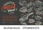 a set of raw meat. beef  pork ...   Shutterstock .eps vector #1926864251