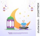 muslim men read the quran in... | Shutterstock .eps vector #1926879854