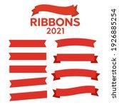 flat ribbons banners flat.... | Shutterstock . vector #1926885254