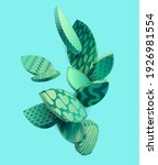 stylized tropical leaves.... | Shutterstock .eps vector #1926981554