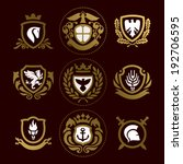 heraldic signs, heraldic elements, heraldry, insignia, signs, vector set
