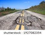 Pothole Road   Damaged Rural...