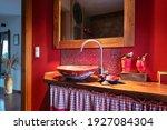 Art Interior Of Red Bathroom...