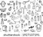 a set of items for the bathroom ... | Shutterstock .eps vector #1927137191