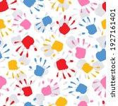 seamless pattern. fun handprint....   Shutterstock . vector #1927161401