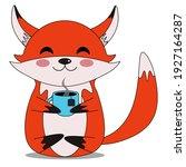 little orange happy fox sits...   Shutterstock .eps vector #1927164287