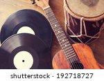 Vintage Acoustic Guitar  Drum...
