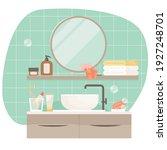 bathroom interior design.... | Shutterstock .eps vector #1927248701