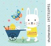cute bunny pushing cart... | Shutterstock .eps vector #1927310951