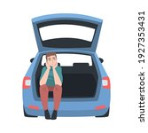 thoughtful man sitting in car... | Shutterstock .eps vector #1927353431