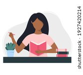 black woman writes in a... | Shutterstock .eps vector #1927420214