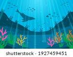 under the sea background.... | Shutterstock .eps vector #1927459451