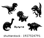 collection of black dinosaurs...   Shutterstock .eps vector #1927524791