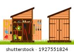 wooden shed with closed and... | Shutterstock .eps vector #1927551824