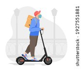 delivery man riding an electric ... | Shutterstock .eps vector #1927551881
