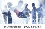 Small photo of Double exposure of businessman and businesswoman handshake on stock market graph background and New York downtown. Concept financial transaction and deal processing.