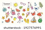 set of cute summer icons  food  ... | Shutterstock .eps vector #1927576991