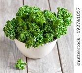 Fresh Green Kale In Ceramic...