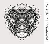 tattoo and t shirt design black ... | Shutterstock .eps vector #1927635197