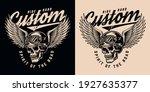 vintage monochrome motorcycle... | Shutterstock .eps vector #1927635377