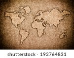 world map carving on wood board | Shutterstock . vector #192764831