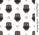 seamless pattern with tiki mask ... | Shutterstock .eps vector #1927679567