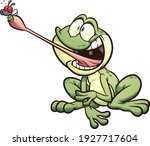 frog catching a fly with it's... | Shutterstock .eps vector #1927717604