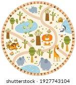 vector tropical maze with... | Shutterstock .eps vector #1927743104