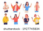 people listen music. cartoon... | Shutterstock .eps vector #1927745834