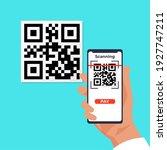 qr wireless payment. cartoon... | Shutterstock .eps vector #1927747211