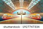 indoor railway station platform ... | Shutterstock .eps vector #1927747334