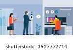temperature screening kiosk and ... | Shutterstock .eps vector #1927772714