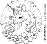 beautiful unicorn with petals... | Shutterstock .eps vector #1927806107