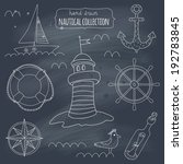 nautical symbols on blackboard. ... | Shutterstock .eps vector #192783845