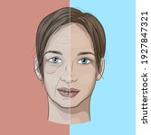 illustration of a woman's face... | Shutterstock .eps vector #1927847321
