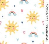 funny sun and rainbow seamless... | Shutterstock .eps vector #1927848647