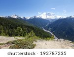 Amazing view of volcano Rainer on one of the most scenic hiking trails in Seattle, Washington - stock photo
