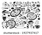 pizza cartoon black glyph set.... | Shutterstock .eps vector #1927937417
