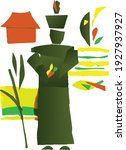green china man in garden vector | Shutterstock .eps vector #1927937927