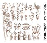 easter hand drawn doodle vector ... | Shutterstock .eps vector #1927949987