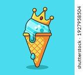king ice cream cartoon vector... | Shutterstock .eps vector #1927958504