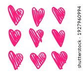 set of hand drawing red hearts. ... | Shutterstock .eps vector #1927960994