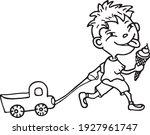 a little boy on a walk  he goes ... | Shutterstock .eps vector #1927961747