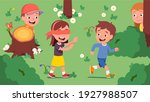 boys  girls kids playing hide... | Shutterstock .eps vector #1927988507