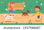 dogs owners girl  boy kids run... | Shutterstock .eps vector #1927988687