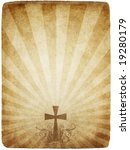 cross on old worn and grungy... | Shutterstock . vector #19280179