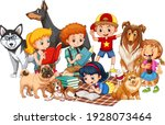 group of children with their... | Shutterstock .eps vector #1928073464