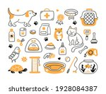 Hand Drawn Set For Pet Shop And ...