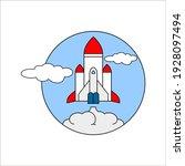 space rocket flying in sky ... | Shutterstock .eps vector #1928097494