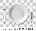 white plate  fork  knife table... | Shutterstock .eps vector #1928115104